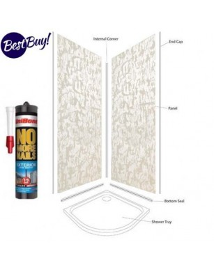 Pearlescent White Shower Wall Panel Kit to cover 2 x 1000 walls 5mm 30% off