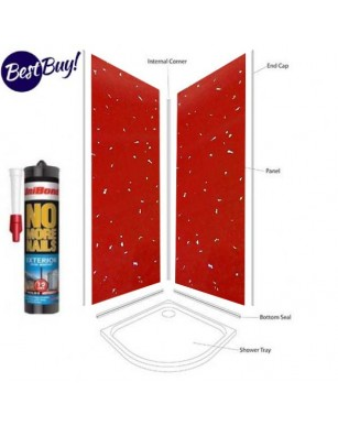 Red Sparkle Shower Wall Panels Kit 1000MM x 2.4m X 10mm 2 Sided Cubicle.............................