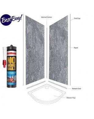Grey Metalic Shower Wall Panels Kit 1000MM x 2.4m X 10mm 2 Sided Cubicle Fitting