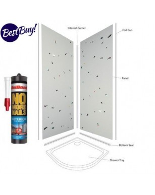 white sparkle wet wall Shower Panel Kit to cover 2 x 1000 walls 5mm