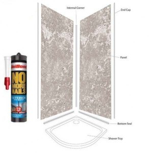Concrete Grey Shower Wall Panels Kit 1000MM x 2.4m X 10mm 2 Sided Cubicle Fitting