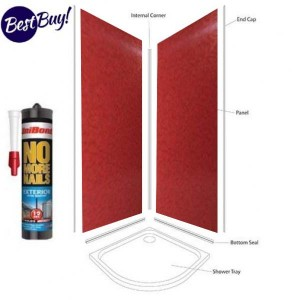 Red Pearl Shower Wall Panels Kit 1000MM x 2.4m X 10mm 2 Sided Cubicle 10% off